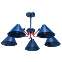 Loft Hängeleuchte blue+red/metal 5*40W E27