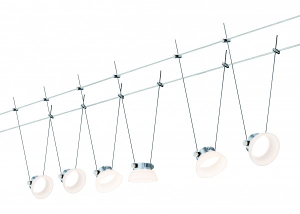 Paulmann Seil-Set, LED, 6x4W, IceLED I 230V/12V DC Chrom matt/Weiß